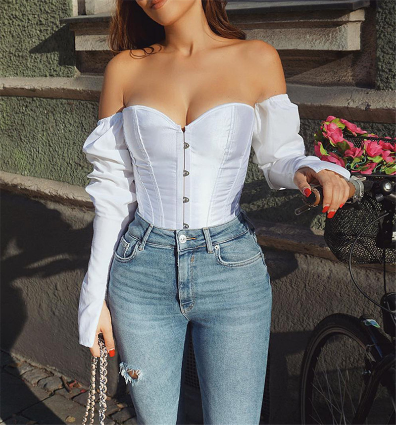 Corset   Blouse   Off Shoulder Top Women   Blouse     Shirt   Cloth White Sexy Street Style Vintage Fall Long Sleeve Black Slim Casual