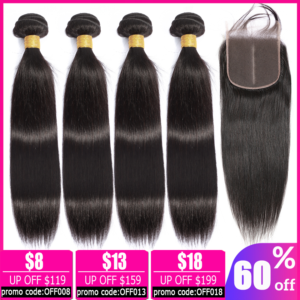 Lanqi Brazilian Hair Weave Bundles Straight Hair Bundles With Closure Human Hair Bundles With Closure Non-remy Hair Extensions