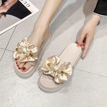 Summer slippers women's 2021 new Korean leisure thick bottom muffin bowknot flip flop