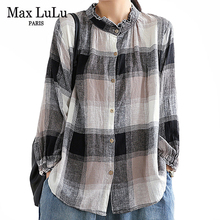 Linen Tops Blouses Fashion Clothes Max Lulu Chinese Ladies Vintage Shirts Plaid Printed