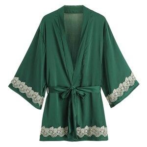 Image 2 - Sexy Bridesmaid Robes Chinese Bride Wedding Robe Satin Sleepwear Women Nightgown Nightdress Kimono Bathrobe Gown Negligee
