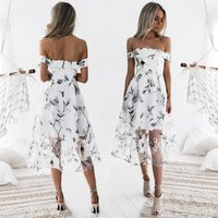 Hot Selling 2018 Sexy Backless Horizontal Neck Printed Organza Dress