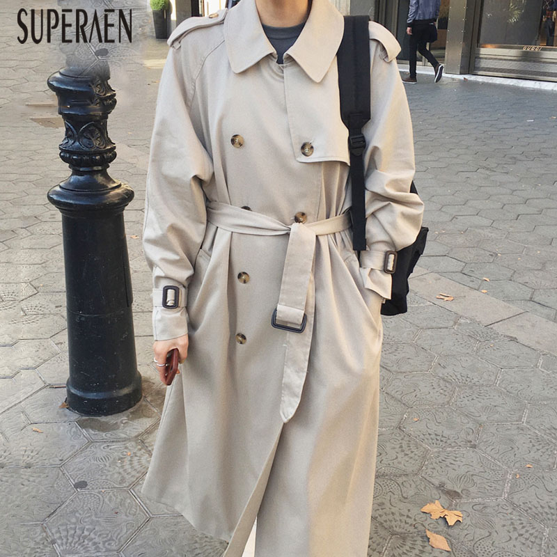 SuperAen Korean Style   Trench   Coat for Women Lapel Double-breasted Solid Color Autumn New Ladies Windbreaker 2019 Women Clothing