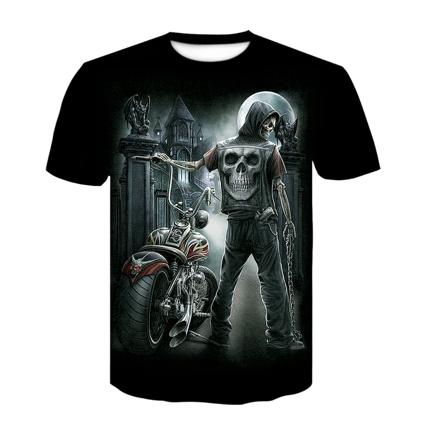 New Personalized 3D T-shirt Men's Motorcycle Skull T-shirt Summer Casual T-shirt With Round Neck Short Sleeve Streetwear