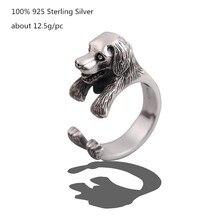 цены 100% 925 Sterling Silver Unique Hip-hop Punk Ring Men Labrador Retriever Dog Rings for Women Fashion Cute Animals Jewelry