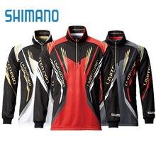 Shimanos-ropa de pesca Anti-UV, camisa de pesca, ropa de secado rápido, transpirable, con cuello levantado, chaqueta de pesca de manga larga