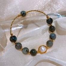 Браслет с золотым гальваническим барочным жемчугом, новинка, модный браслет, нишевой дизайн, индивидуальный браслет для женщин и девушек