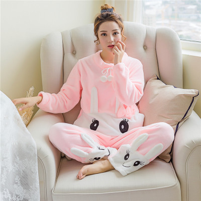 New Style Autumn & Winter Women's Flannel Pajamas Long Sleeve South Korea Coral Velvet Crew Neck Warm Cute Tracksuit Case