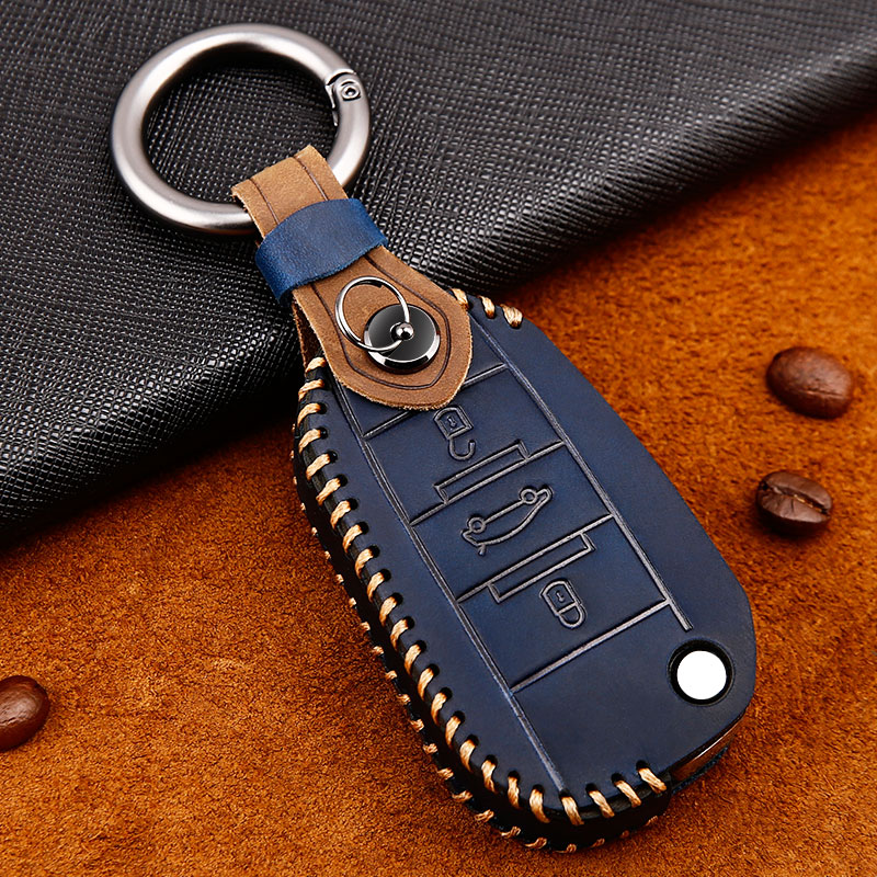 Genuine Leather car key case for <font><b>Peugeot</b></font> 301 208 <font><b>3008</b></font> 5008 408 2008 308 508 2013 2014 2015 <font><b>2016</b></font> 2017 2018 2019 car accessories image