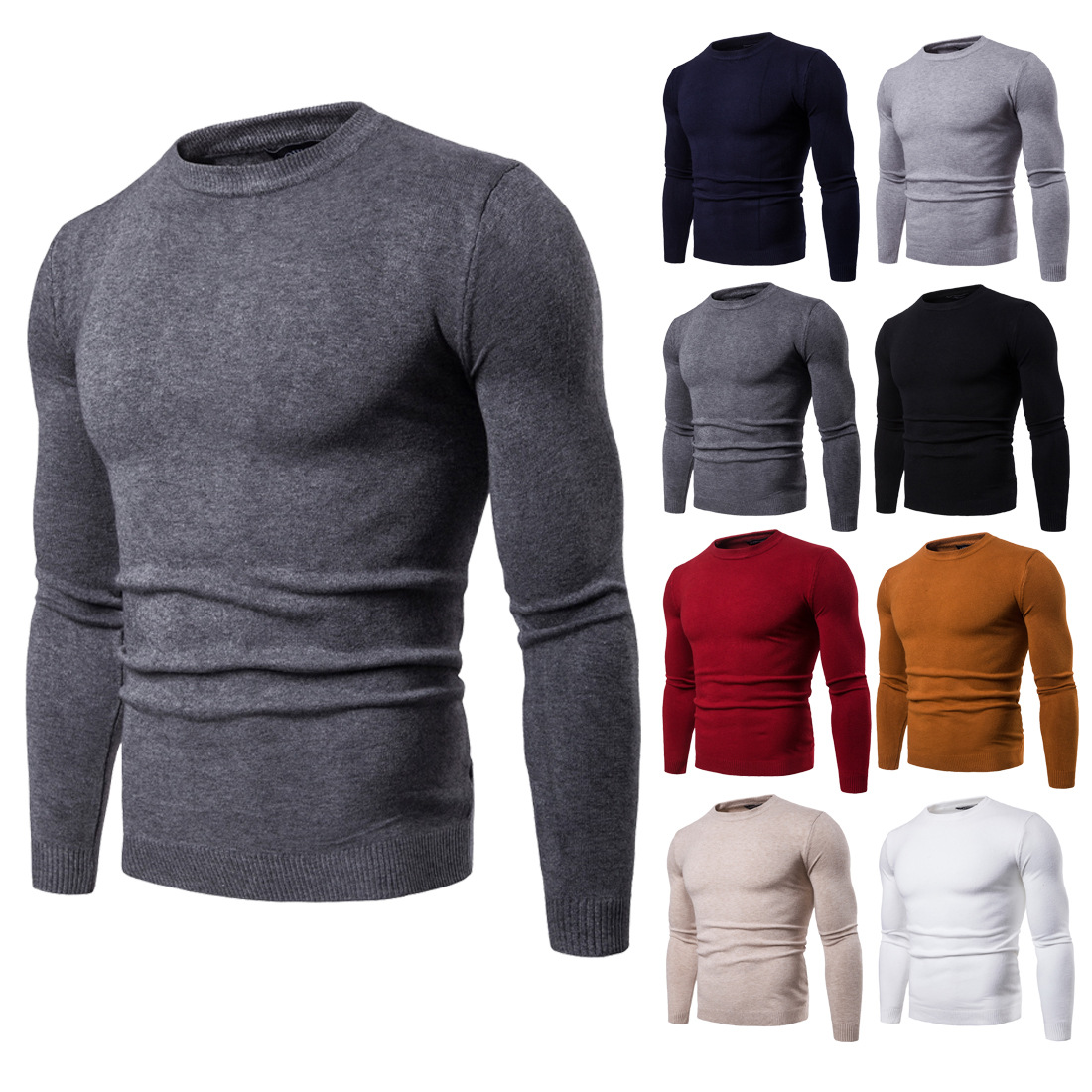 Sweater Men Spring Autumn New Style 2018 Men's Round Neck Sweater Solid Color Long-sleeve Men's Knitted Base Shirt Streetwear
