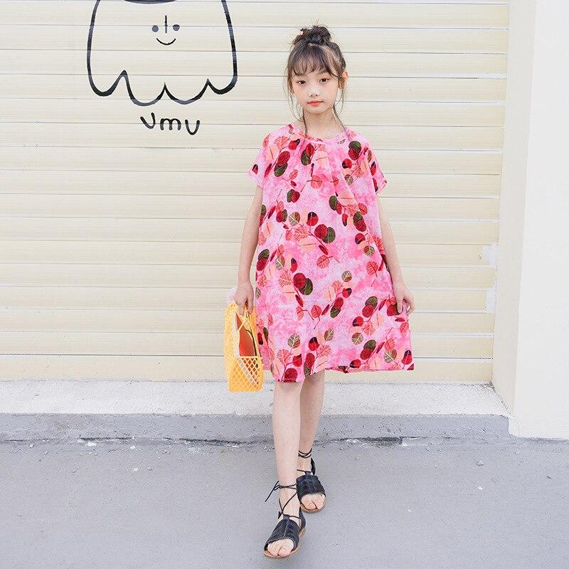 New 2020 Summer Girls Dress Kids Bohemian Holiday Beach Dresses Baby Girls Printing Dresses Children Loose Casual Dresses, #8625