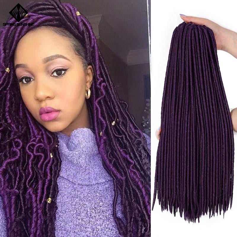 Spring Sunshine 20inch Faux Locs Crochet Braids Purple Soft Dread Synthetic Braiding Hair Extension Afro Hairstyles Black Women