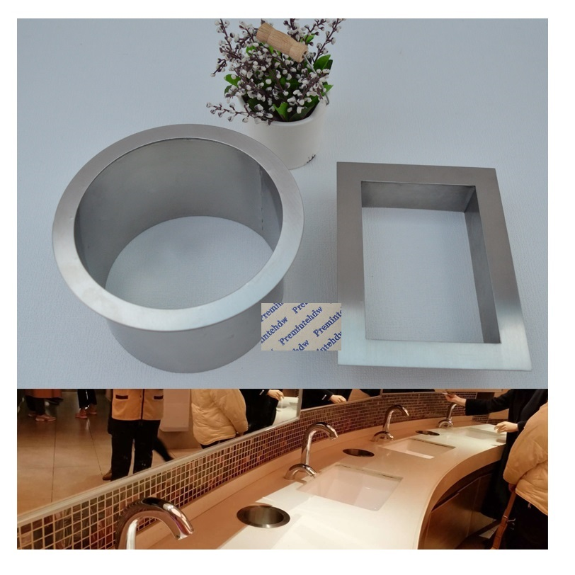 304 Stainless Steel Square Round Built-in Drop In Countertop Bench Top Waste Trash Chute Grommet No Cover Bathroom Hotel Public