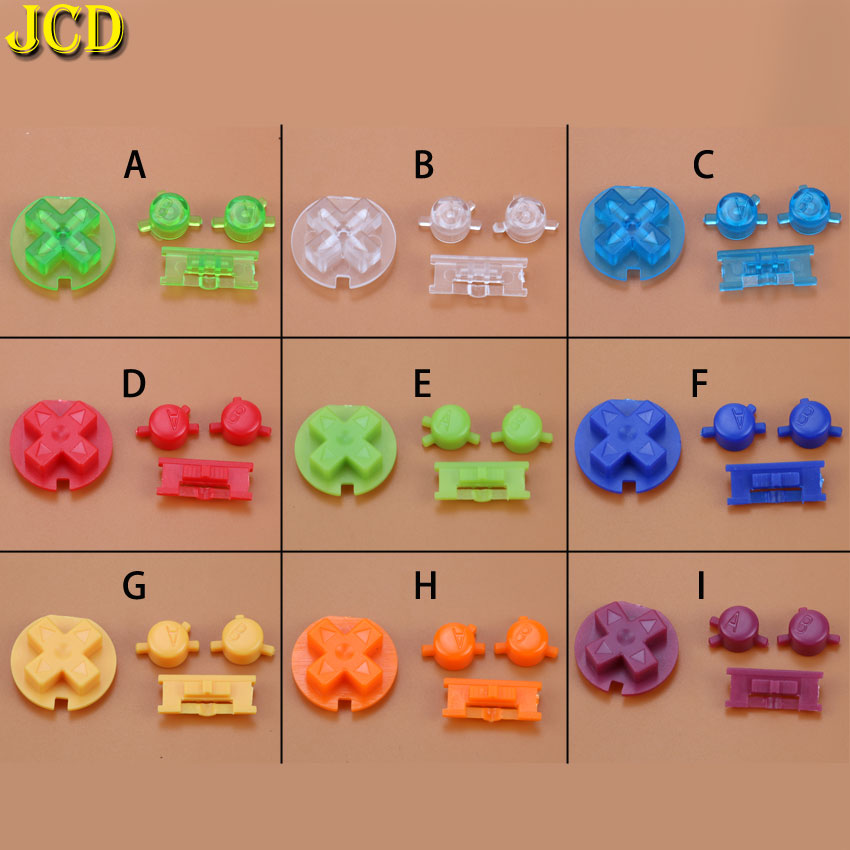 JCD 1 Set Plastic Power ON OFF Buttons Keypads For Gameboy Color GBC Colorful Buttons Set For GBC D Pads A B Buttons Replacement