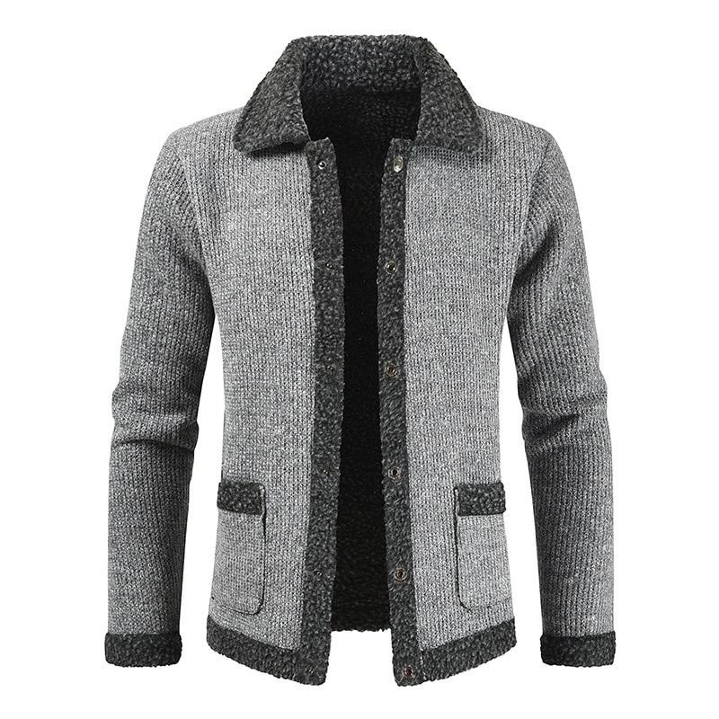 NEGIZBER 2019 Winter Cardigan Men Solid Patchwork Thick Warm Sweater Coats Men Fashion Wool Cashmere Sweater Men Winter Clothing
