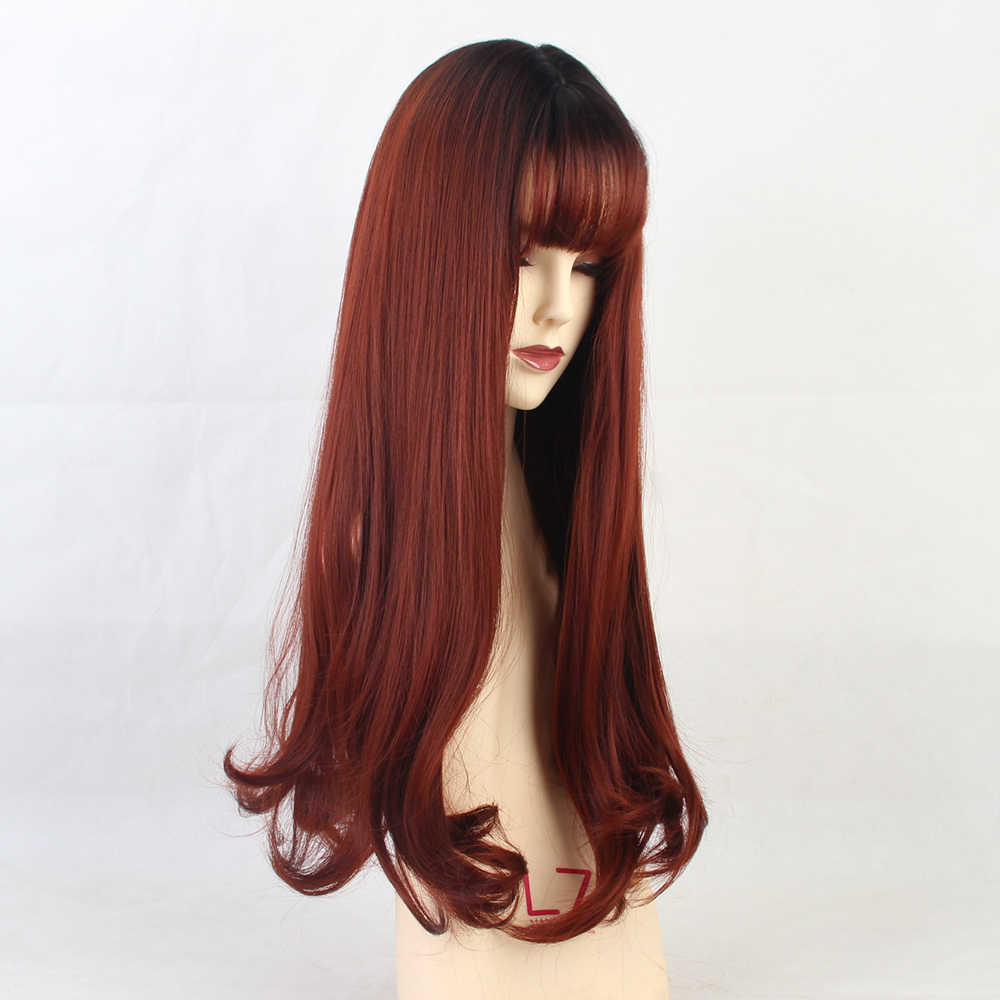 Uzun dalga peruk ile patlama Cosplay peruk kadın doğal sentetik siyah degrade şarap kırmızı peruk ısıya dayanıklı iplik peruk