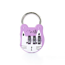 17Mm Cat Wajah Luggage Lock dengan 3 Digit Gembok Kombinasi Aman Cipher Kunci Reset Kunci Set Massal olahraga Bagasi(China)