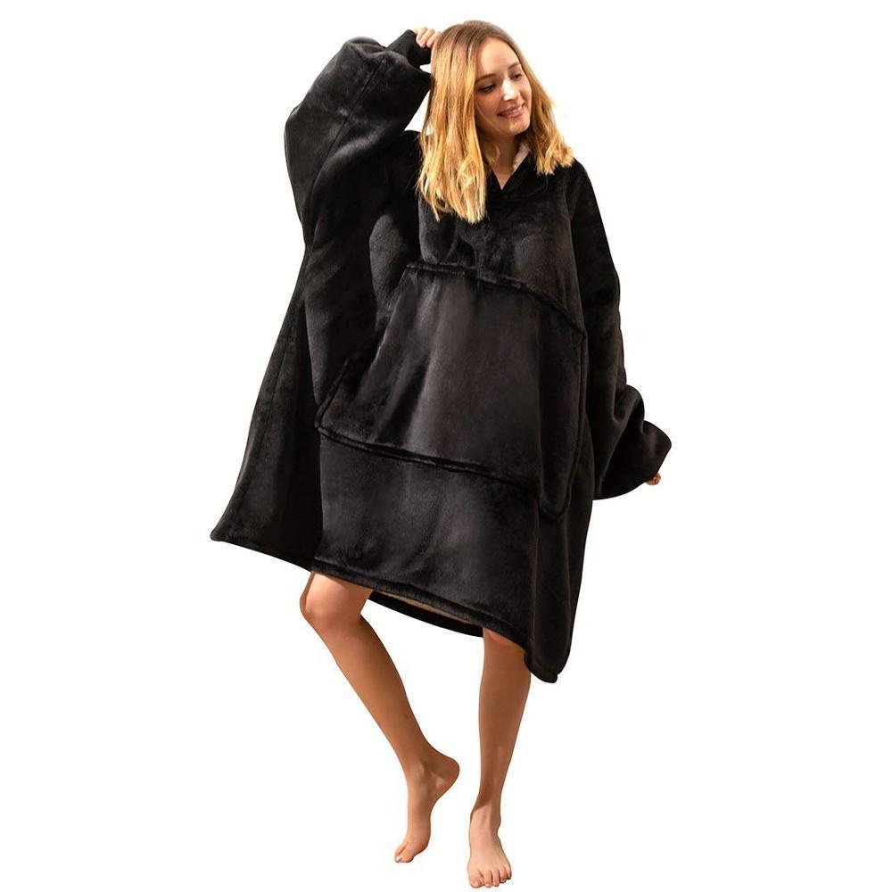 Зимнее женское теплое Флисовое одеяло большого размера, толстовки, толстовка с капюшоном и карманом, одеяло с рукавами, пуловеры из шерпы, Sudadera Mujer