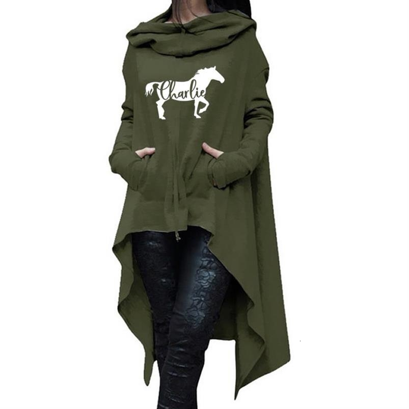 HORSE Letters Print Hoodies For Women Long Irregular  Hoodies Women Sweatshirts Femmes Printing Harajuku Cute Buckle Hoody