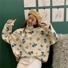 2019 Winter Korean Style Sweatershirt Dinosaur Cartoon Print Cute Large Yard Leisure Loose Pullovers Hooded