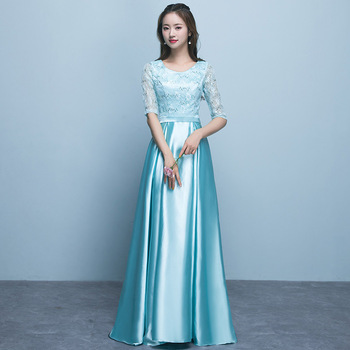 Holievery Half Sleeves Satin Bridesmaid Dresses with Lace Top 2020 Ice Blue Pink Gold Long Party Dress