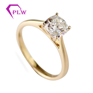 Image 2 - Customizd 14K Yellow Gold 9x9mm 3.5ct Cushion Old Europe Cut D Color VVS Moissanite 2mm Band Width Solitaire Ring Fast Shipping