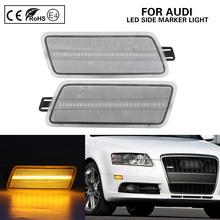 цена на 2X Clear Front bumper LED Side Marker Light for Aud A6 C6 2005-2011 for USA version cars