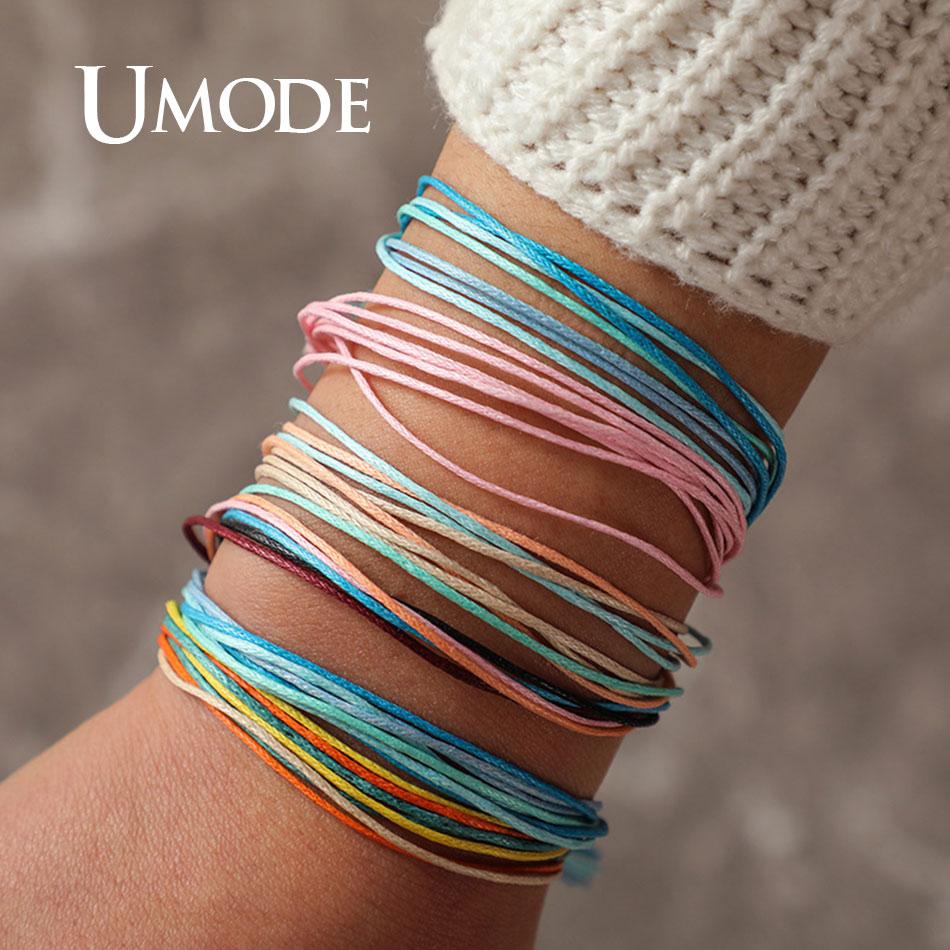 UMODE Bohemian Rope Bracelets Set for Women Men Fashion Simple Ins Adjustable Colorful Multilayer Friedship PB0498