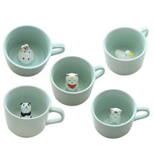 Cute 3D Animal Coffee Cup At The Bottom Milk Ceramic Cup Tea Cup Ideal Gift the ideal homeworkers