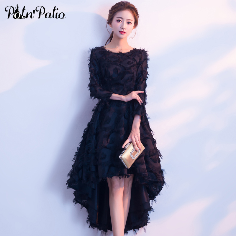 Black Long Sleeves Prom Dresses Feather Lace Short Front Long Back Cocktail Party Dress 2019 High Low Prom Gown