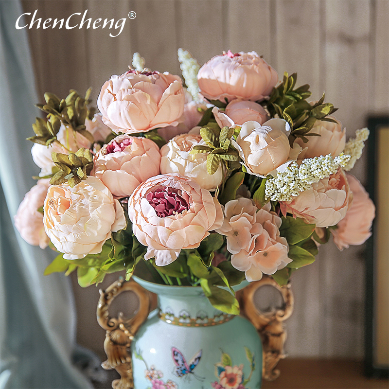 CHENCHENG 13 Branches Artificial Silk Peony Bouquets Fake Rose Big Flowers for Wedding Party Office Hotel and Home Decoration title=