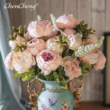 CHENCHENG 13 dalları yapay ipek şakayık buketleri sahte gül büyük çiçekler düğün parti ofis için otel ve ev dekorasyon