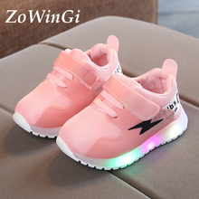 Size 21-30 Kids Sneakers with Illumination Glowing Sneakers Children Footwear Lightweight Sneakers zapatillas nina lumninosas cheap ZoWinGi 13-24m 25-36m 4-6y Mesh (Air mesh) CN(Origin) Four Seasons Breathable Lighted Anti-Slippery unisex LED Shoes Cow Muscle