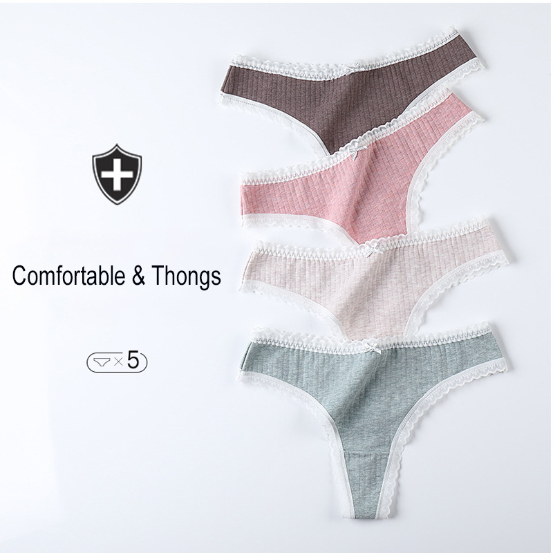 Hot Sexy Women Cotton G-string Thongs Underwear Female Lace String Comfort Women's Intimates Low Waist Sexy Lady Lingerie Tanga