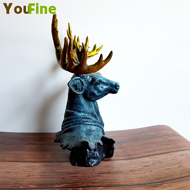 Bronze sika deer avatar ornaments Various animal avatar pendants Support custom animal bust various sizes in Statues Sculptures from Home Garden