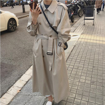 Fashion  New Women Trench Coat Long Double-Breasted Belt Blue Khaki Lady Clothes Autumn Spring Outerwear fashion new women trench coat long double breasted belt blue khaki lady clothes autumn spring outerwear