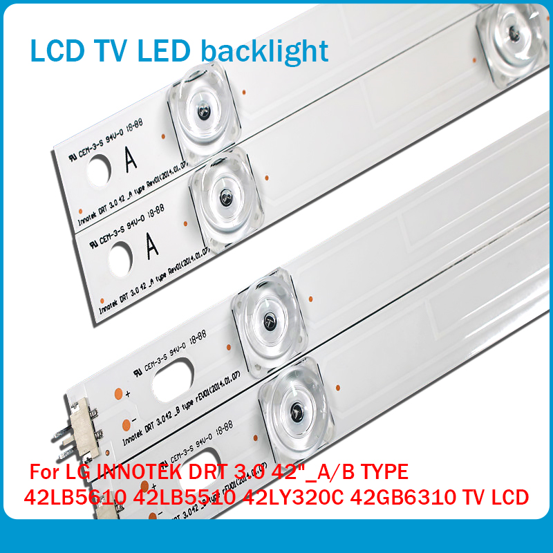 "100%NEW!! 8 PCS(4*A,4*B)825mm LED strip 8 leds For LG INNOTEK DRT 3.0 42""_A/B TYPE 42LB5610 42LB5510 42LY320C 42GB6310 TV LCD"