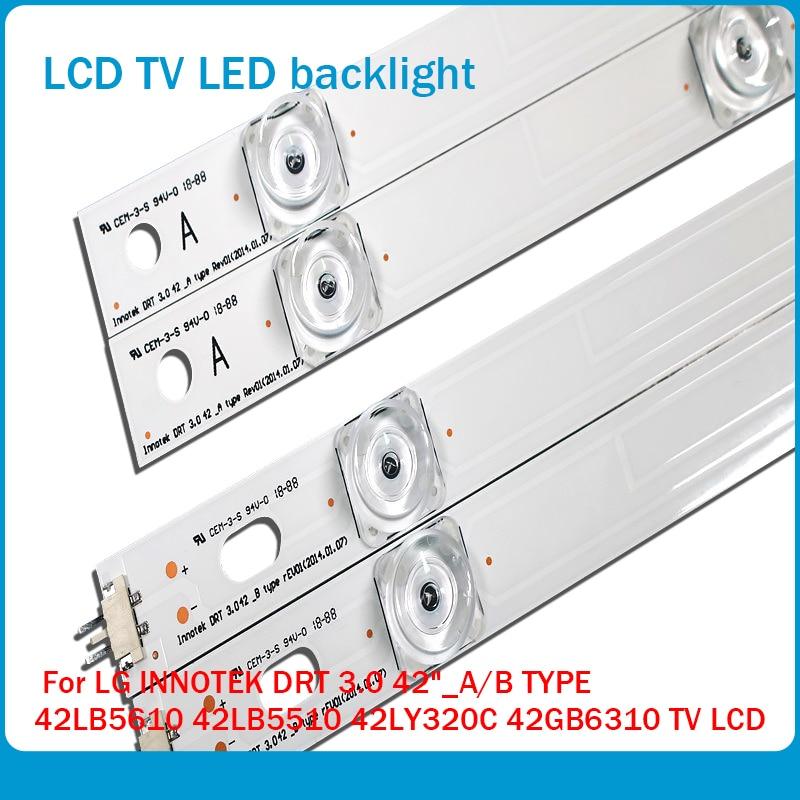 """100%NEW!! 8 PCS(4*A,4*B)825mm LED strip 8 leds For LG INNOTEK DRT 3.0 42""""_A/B TYPE 42LB5610 42LB5510 42LY320C 42GB6310 TV LCD"""