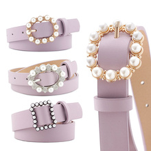 Fashion Luxury Brand Leather Women Belt Pearl Buckle Designe