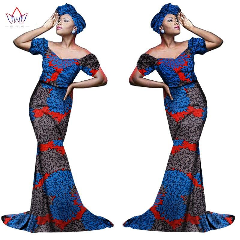 Африканский хлопчатобумажный материал Платья Для Женщин Дашики традиционная Анкара Мода Африка одежда с коротким рукавом Анкара платья WY963 - Цвет: 23