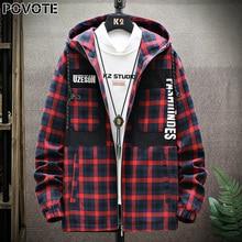 POVOTE brand men's color blocking Plaid hooded jacket hip hop Korean Trend tool trend design