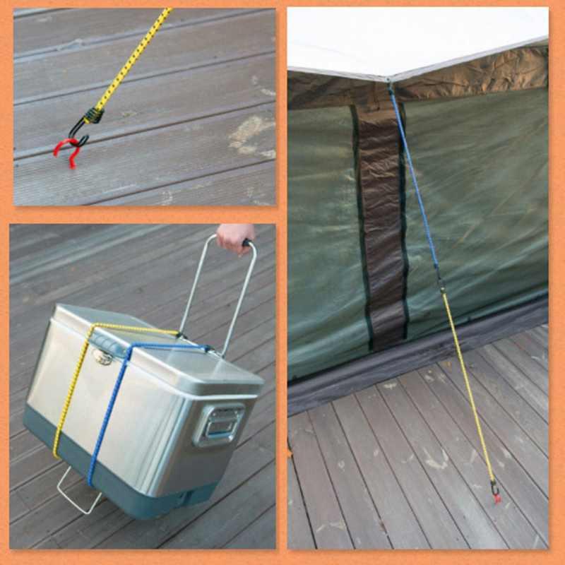 Tenda Outdoor Tinggi Elastis Tali Diikat Tali Bagasi Tali Jemuran Mobil Roof Rack Bagasi Tali dengan Double-End Kait