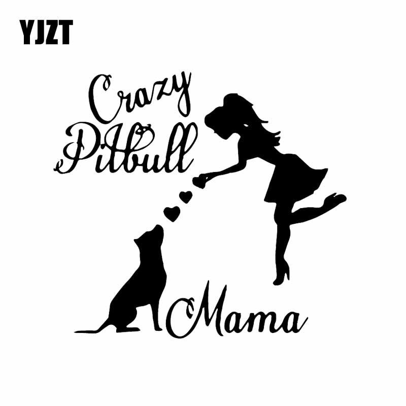 YJZT 15.7X14.2CM Crazy Pitbull Mama Car Sticker Pitbull Mom Lover Dog Vinyl Window Car Decal Black/Silver C24-1615
