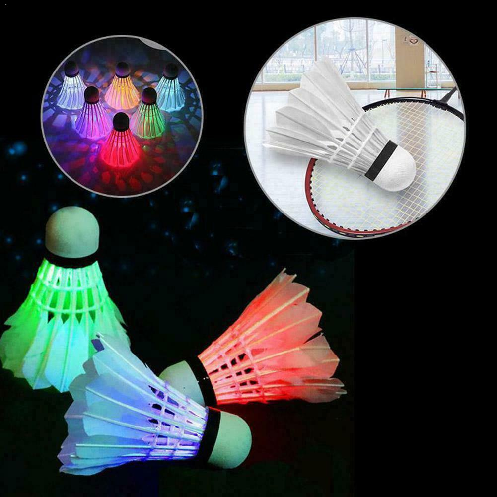 4Pcs Lighting Badminton Shuttlecock Dark Night Colorful Lighting Light Ball Cock Shuttle LED Spot Badminton Accessories Spo L1O5