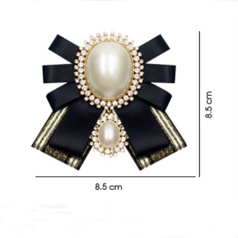 Vintage Big Pearls Bow Crystal Women Brooches Pins New Ladies Fabric Bowknot Tie Necktie Corsage Ribbon Shirt Dress Accessories in Brooches from Jewelry Accessories