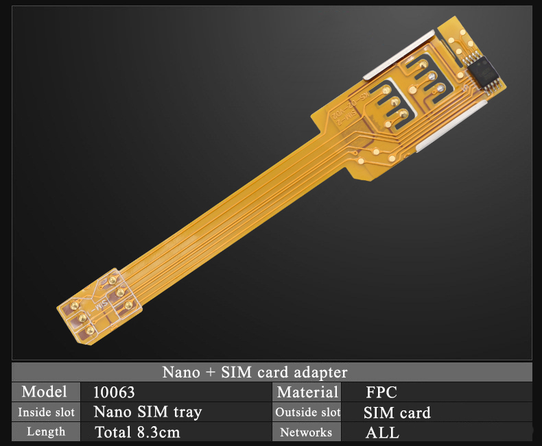 New Arrival  Dual 2 Sim Card Device For For Android For IPhone 5 5s 6 6plus Nano SIM Card Adapter