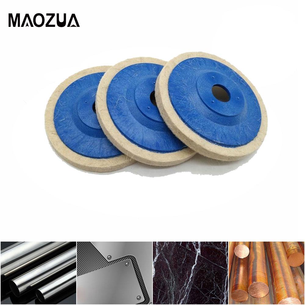 4 Inch 100mm Wool Polishing Wheel Buffing Pads Angle Grinder Wheel Felt Polishing Disc for Car Metal Marble Glass Ceramics