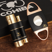 COHIBA Luxury Torch Lighter Cigar Cutter Stainless Steel