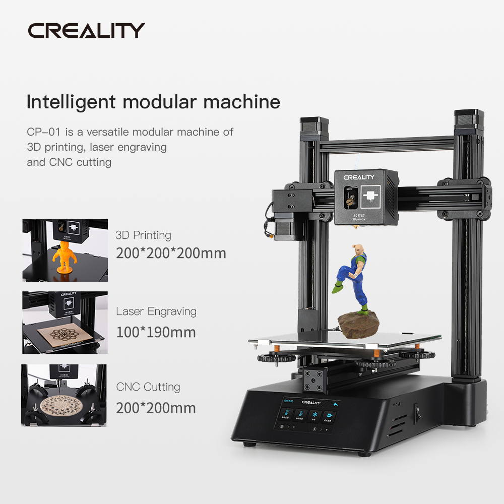 1 Set Creative 3D CP-01 3 IN 1 Printer Can Be CNC Engraving Laser Engraving 3D Printing 4800Rpm Laser Engraving Machine