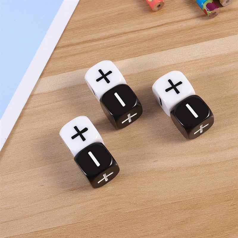 12Pcs Black White 6 sided Dice Minus Sign Plus Sign Dice Counting Dice For Party